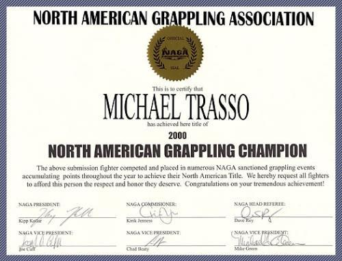 North American Grappling Association Certificate - Acme World Wide